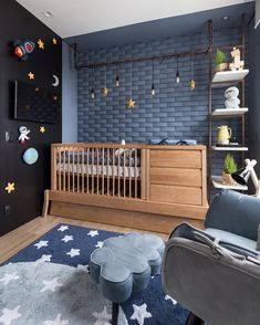 Baby Room Decoration Ideas for Small Rooms – Decology – Home Decorati … - Kinderzimmer Baby Bedroom, Baby Boy Rooms, Baby Room Decor, Kids Bedroom, Room Girls, Kid Rooms, Space Themed Nursery, Nursery Room, Nursery Decor