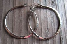 Hammered silver hoops / Hand forged silver earrings / Everyday silver jewelry / Rustic jewelry / Forged metal jewelry