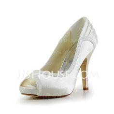 Wedding Shoes - $60.42 - Satin Stiletto Heel Peep Toe Platform Pumps Sandals Wedding Shoes With Ruffles (047029473) http://jjshouse.com/Satin-Stiletto-Heel-Peep-Toe-Platform-Pumps-Sandals-Wedding-Shoes-With-Ruffles-047029473-g29473