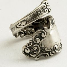 Spoon Ring Unique Victorian Organic Scroll Sterling by Spoonier, $45.00