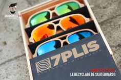 7Plis : Lunettes en planches de skate recyclées Surf, Pli, Round Sunglasses, Planks, Skateboards, Key Pouch, Recycling, Glasses, Surfing