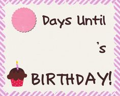Birthday Countdown Sheet Free Printable