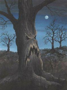 Halloween tree~This is groot, love it! Halloween Artwork, Halloween Painting, Halloween Prints, Halloween Trees, Halloween Pictures, Halloween Horror, Halloween Cards, Holidays Halloween, Vintage Halloween