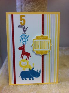 Stampin Up zoo babies stamp set. Made by Ladymajik Creations.