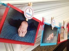 1st Year Photo Clips Birthday Party Banner - Dr. Seuss Cat in Hat Inspired Happy Birthday Banner - Turquoise and Red - Party Packs Available by EmeraldCityPaperie on Etsy https://www.etsy.com/listing/154643098/1st-year-photo-clips-birthday-party