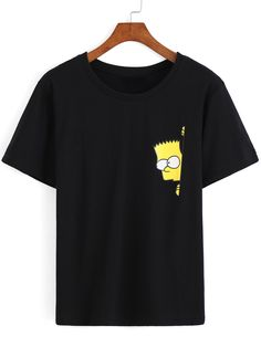 Simpson Print Loose Black T-Shirt - simpson print loose schwarzes t-shirt Simple Shirts, Cool T Shirts, Funny Shirts, Shirt Print Design, Tee Shirt Designs, T Shirt Print, T Shirt Custom, Simpsons T Shirt, T Shirt Painting