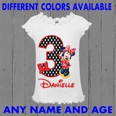 Minnie Mouse Red and Black Birthday Shirt - Polka Dot Design