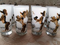 Vintage Jeweled Gold French Black Poodle Paris Drinking Bar Glasses Mid Century