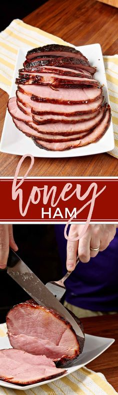 Make Honey Ham for the whole family this Easter Sunday! This sweet meat with a c… Make Honey Ham for the whole family this Easter Sunday! This sweet meat with a crisp exterior makes a beautiful centerpiece for the family table. Ham Recipes, Easter Recipes, Holiday Recipes, Recipes Dinner, Spring Recipes, Christmas Recipes, Honey Roast Ham, Honey Ham, Gourmet