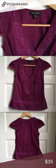 Gorgeous Bebe blouse Beautiful purple shirt with embroidered details, purchased and is too small for me, hopefully a find for you! bebe Tops Blouses