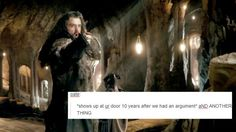 hobbit + text post this is so perfect Bilbo Baggins, Thorin Oakenshield, Hobbit Hole, The Hobbit, Concerning Hobbits, Bagginshield, Jrr Tolkien, Thranduil, Gandalf
