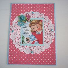 I have made this vintage style birthday card using polka dot red paper topped with doilie paper,cutest little girl image,pearls and prima flower. The card measures and comes with a matching envelope. Girl Birthday Cards, Little Girl Birthday, Birthday Parties, Happy Birthday, Gold Angel Wings, Red Paper, Cute Little Girls, Creative Cards, Kids Cards