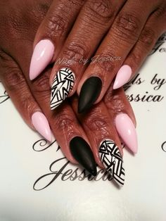 Stiletto nails - pink, black and white