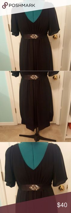 SL Fashions Size16 black semi formal dress Beautiful black SL Fashions floaty semi formal dress, has a sash that ties in the back and a deep v neck. Flutter sleeves. Dress goes down to about the knee. SL Fashions Dresses Midi