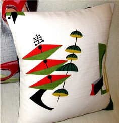 Throw Pillow Atomic 50s Jetsons Vintage Barkcloth Pillow Cover -  Spacely Sprocket -  Shown with 18 inch X 18 inch insert