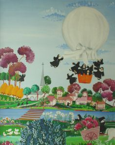 "Arte naif PILAR SALA ""Monjas en globo"""