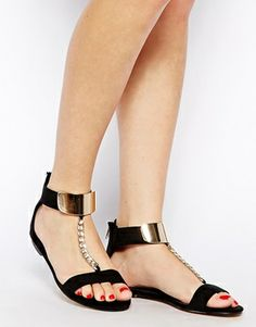 5f24f5c178ea Image 4 of Miss KG Dakota Black Chain Sandals Miss Kg