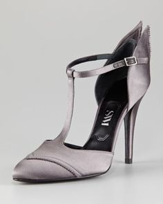 Satin Wing T-Strap Pump by SW1