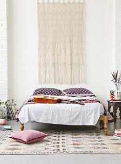 """Macrame """"headboard"""" and berber rug"""