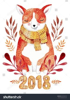 Watercolor greeting card for 2018 new year . Corgi dog cute illustration.
