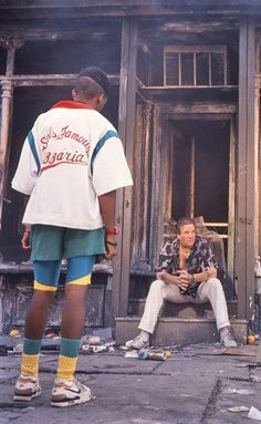 """nickdrake: """" Spike Lee as Mookie in front of Sal's Famous Pizzaria and Danny Aiello in Do The Right Thing. """""""