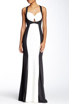 Contrast Paneled Gown by Mignon on @HauteLook