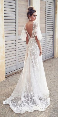 dffad9be793b anna campbell 2019 bridal half handkerchief sleeves v neck full  embellishment romantic pretty soft a line wedding dress blackess open back  sweep train bv ...