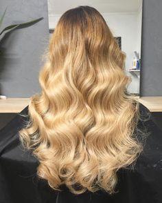 Golden ombré blonde curls waves hair by Charmaine
