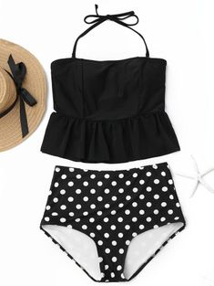 54b0edf1a4 Polka Dot Peplum High Waisted Tankini Set Polka Dot Tankini