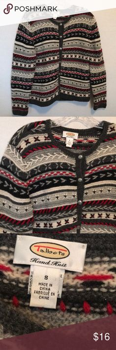 "Talbots Wool Cardigan size Small Gray, white and red woven into fun organic patterns. Pre-loved and in good shape. 100% Wool. Shoulder to hem: 22"", outer sleeve: 24"", pit to pit: 19"".  Shop smart by maximizing your shipping $. Use the filter function and peruse my closet of over 1,000 items! Bundle and save!!   SW5C Talbots Sweaters Cardigans"
