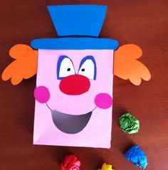 Clown craft and game fun-tastic Απόκριες Clown Crafts, Carnival Crafts, Carnival Costumes, Circus Birthday, Circus Theme, Circus Party, Art For Kids, Crafts For Kids, Clowning Around