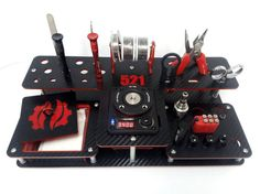 Coil Master 521 tab vape stand carbon lookBlack-Red by al6s