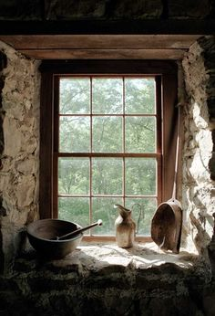 Quartz stone window sill designed by Listone is of high quaity and good performance, if you want to buy window sill, inquire us now. Old Windows, Windows And Doors, Ventana Windows, Vie Simple, Cottage Windows, Country Kitchen Farmhouse, Stone Houses, Stone Cottages, Through The Window