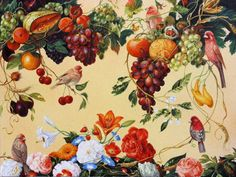 "Saatchi Art Artist Graeme Whittle; Painting, ""Exotic Birds and Fruit"" #art"