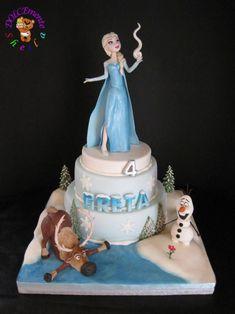 Torta di Frozen con decorazioni in pasta di zucchero n.38