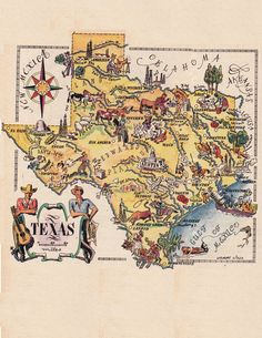 old map of Texas, a pictorial map by Jacques Liozu, 1946, this is a good source for high quality printable vintage maps and illustrations