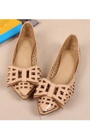 Cut-out Vamp and Bowknot Pointed Toe Flats - Shoes
