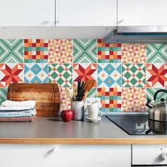 Colourful Geometric Tile Decals - Tile Stickers Set - Contemporary Tiles Kit - Tiles for Kitchen - Kitchen Backsplash - PACK OF 24