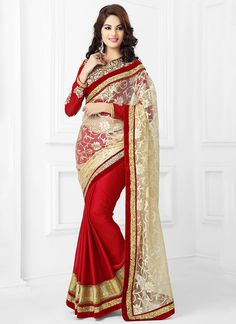 Virtuous Beige & Red Georgette On Net Saree