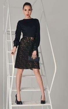 Black Silk Top, Short Lace Skirt