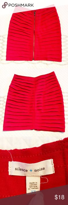 """🎉HP 12/4🎉silence + noise raw-edge zip mini This skirt is perfect for the holiday season! Dress that boring office Christmas party up with this little number! Exposed front zipper.   Excellent used condition No flaws Size XS Waist: 26"""" (some stretch) Overall length: 15.5""""  ✅reasonable offers ❌trades 💬ask questions 🛍bundle to save 👇🏼offer button Urban Outfitters Skirts Mini"""