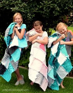 three rag quilts.  F