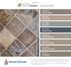 I found these colors with ColorSnap® Visualizer for iPhone by Sherwin-Williams: Poised Taupe (SW 6039), Trusty Tan (SW 6087), Earl Grey (SW 7660), Mineral Gray (SW 2740), Pewter Tankard (SW 0023), Sticks & Stones (SW 7503), Hammered Silver (SW 2840), Hardware (SW 6172).