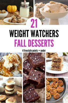 Easy Weight Watchers Dessert Recipe Ideas Perfect For Fall Cure your craving for sweets. Sharing 21 delicoius and easy Weight Watchers dessert recipes that are perfect for fall and only 4 points or less! Weight Watchers Desserts, Weight Watchers Snacks, Weight Watchers Breakfast, Ww Desserts, Fall Dessert Recipes, Fall Desserts, Healthy Desserts, Fall Recipes, Weigh Watchers