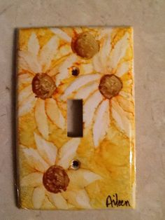 Alcohol ink switch plate by AileensArtwork on Etsy