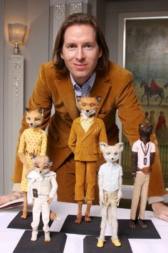 Wes Anderson with puppets from Fantastic Mr. Fox (2009)