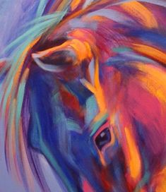 Abstract Horses: Purple, Pink, and Blue Abstract Horse Painting by Theresa Paden