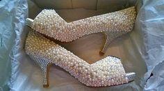 pearl and crystal encrusted wedding heels i designed