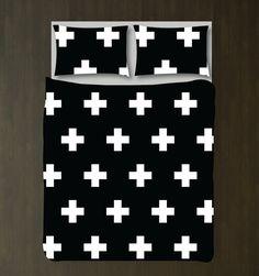 Swiss Cross Bedding Set-Custom Duvet Cover-Shams-White and Black Pattern-Customize Colors-Twin XL-Full/Queen-King-Scandinavian-Plus Signs Twin Xl Bedding Sets, Duvet Sets, Duvet Cover Sets, Bed Sets, King Duvet, Queen Duvet, Black Pattern, Decoration, Duvet