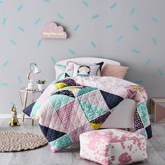 Adairs Kids Lilah Quilted Bedlinen - Bedroom Quilt Covers & Coverlets - Adairs Kids online